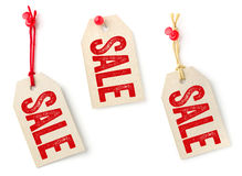 Etichette con la vendita del testo Fotografie Stock Libere da Diritti