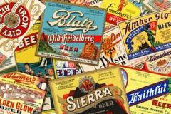 Etichette d'annata americane della birra Fotografia Stock Libera da Diritti