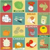 Etichette d'annata degli elementi della cucina Fotografia Stock