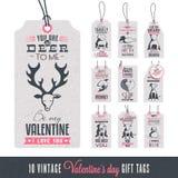 Etichette d'annata del regalo di San Valentino Fotografie Stock