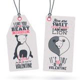 Etichette d'annata del regalo di San Valentino Fotografia Stock