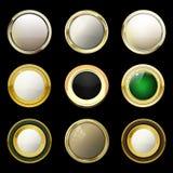 Etichette d'annata dell'oro e lucide Pietre colorate messe in oro bro Immagine Stock Libera da Diritti