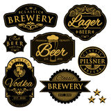 Etichette d'annata della fabbrica di birra Fotografia Stock Libera da Diritti