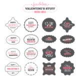 Etichette d'annata di giorno di biglietti di S. Valentino Immagini Stock
