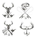 Etichette d'annata di pesca e di caccia ed elementi di progettazione illustrazione di stock