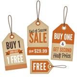 Etichette d'annata di vendita al dettaglio Fotografia Stock