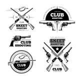 Etichette d'annata di vettore del club della pistola, logos, emblemi messi Fotografia Stock