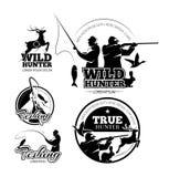 Etichette d'annata di vettore di pesca e di caccia, emblemi del logos messi illustrazione vettoriale