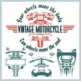 Etichette d'annata, distintivi e progettazione del motociclo Fotografia Stock Libera da Diritti