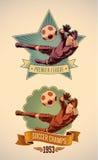 Etichette dei campioni di calcio Fotografia Stock Libera da Diritti