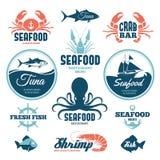 Etichette dei frutti di mare Immagini Stock Libere da Diritti