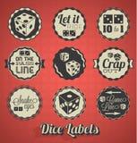 Etichette dei giochi dei dadi Fotografie Stock Libere da Diritti