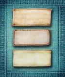 Etichette dei jeans del cuoio di Brown Immagine Stock