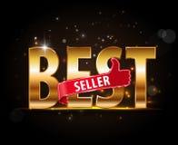 Etichette del bestseller con i pollici sull'etichetta dorata del testo illustrazione di stock