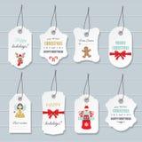Etichette del buon anno e di Natale e modelli dei distintivi messi Immagini Stock