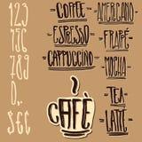 Etichette del caffè ed elementi su ordinazione di disegno Fotografia Stock