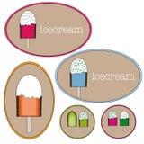 Etichette del cerchio del gelato Fotografia Stock Libera da Diritti