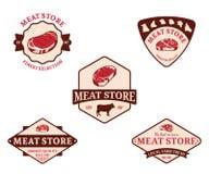 Etichette del deposito della carne ed elementi di progettazione illustrazione di stock