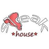 Etichette del deposito della carne o dello steakhouse Fotografia Stock