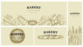 Etichette del forno Grafico d'annata Raccolta della pasticceria e del pane Illustrazione di vettore Può essere l'uso per il menu, Fotografie Stock Libere da Diritti