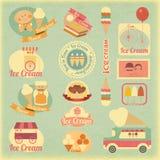 Etichette del gelato retro Fotografia Stock Libera da Diritti
