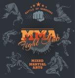 Etichette del Muttahida Majlis-E-Amal - progettazione mista di arti marziali di vettore illustrazione di stock