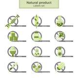 Etichette del prodotto naturale Fotografia Stock Libera da Diritti