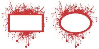 Etichette del punto isolate nel rosso Fotografia Stock Libera da Diritti