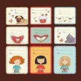 Etichette del regalo con amore su fondo marrone Fotografia Stock