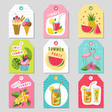 Etichette del regalo con la decorazione tropicale di estate Illustrazioni dell'anguria, della limonata, della fragola e di altri  Fotografie Stock Libere da Diritti
