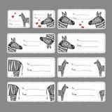 Etichette del regalo con le zebre Fotografia Stock