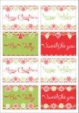 Etichette del regalo di Natale Fotografia Stock