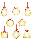 Etichette del regalo o raccolta dorate del prezzo da pagare Fotografie Stock Libere da Diritti