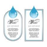 Etichette dell'acqua con goccia su bianco Fotografia Stock