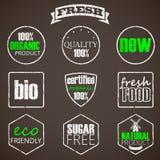 Etichette dell'alimento biologico Fotografia Stock Libera da Diritti