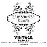 Etichette dell'annata - decorazioni della doccia di bambino Immagini Stock Libere da Diritti