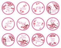Etichette dell'autoadesivo di Candy con sakura illustrazione di stock