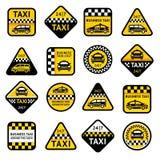 Etichette dell'insieme del taxi Fotografie Stock Libere da Diritti