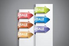 Etichette della freccia di vendita immagini stock