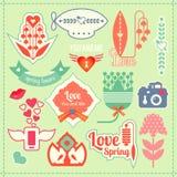 Etichette della molla e di amore Fotografia Stock