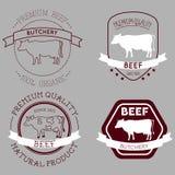 Etichette della mucca del macellaio Fotografia Stock Libera da Diritti