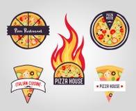 Etichette della pizza di vettore logos, icone illustrazione vettoriale