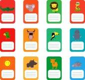 Etichette della scuola con gli animali svegli Coccodrillo, elefante, leone, serpente e più illustrazione vettoriale