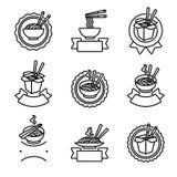 Etichette della tagliatella ed insieme di elementi Tagliatelle dell'icona della raccolta Vettore fotografia stock libera da diritti