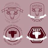 Etichette della testa della mucca del macellaio Immagine Stock