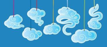 Etichette delle illustrazioni della nuvola di stile cinese Immagini Stock