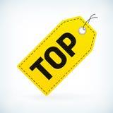 Etichette dettagliate di prezzi della cima di affari del cuoio giallo Immagine Stock Libera da Diritti