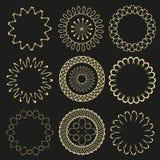Etichette di art deco del cerchio Struttura di lusso d'annata autentica dell'oro di arte dei pantaloni a vita bassa per la raccol illustrazione vettoriale