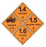 Etichette di avvertimento esplosive Fotografia Stock Libera da Diritti