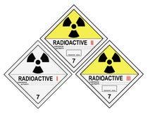 Etichette di avvertimento radioattive Immagini Stock Libere da Diritti